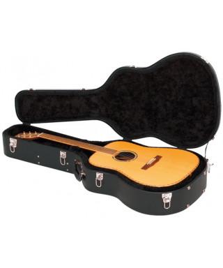 Rockgear RC 10719 BCT/SB Case Deluxe sagomato per Chitarra acustica, Curved Top, Black Tolex