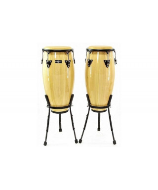 """Natal  10 & 11"""" Congas w/ Basket Stands Green"""""""