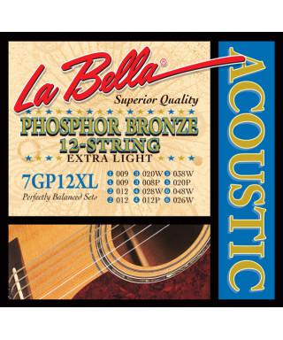 LaBella 7GP-12XL Muta di corde per chitarra acustica 12 corde